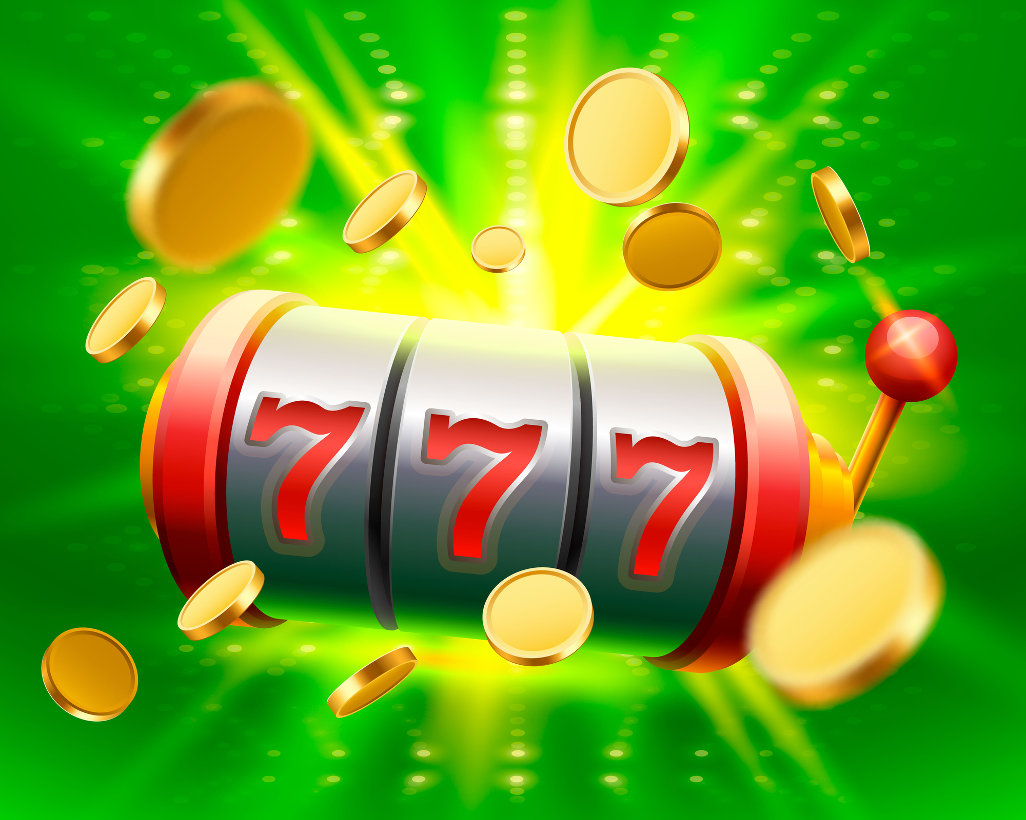 Big win slots 777 banner casino. Vector illustration